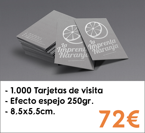 1.000 tarjetas de visita en papel de 250gr.