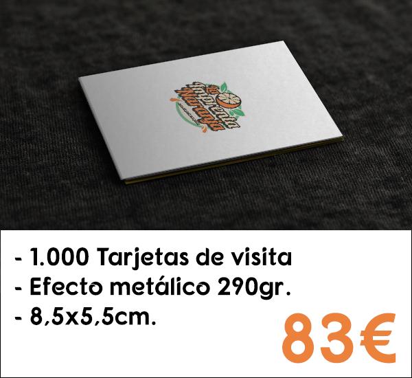 1.000 tarjetas de visita en cartón de 290gr. con efecto metálico
