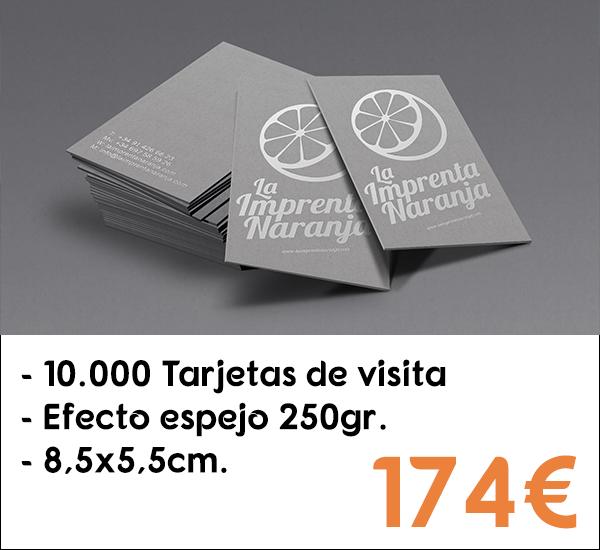 10.000 tarjetas de visita en papel de 250gr.