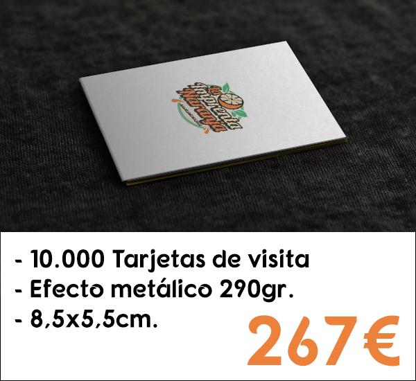 10.000 tarjetas de visita en cartón de 290gr. con efecto metálico