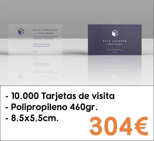10.000 tarjetas de visita en polipropileno de 460gr.