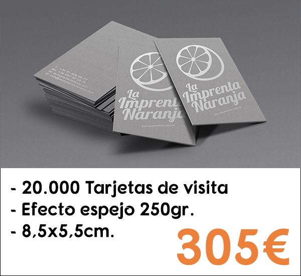 20.000 tarjetas de visita en papel de 250gr.