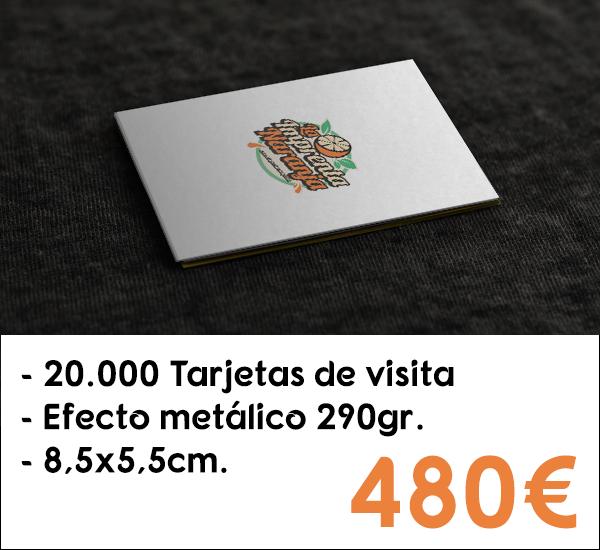 20.000 tarjetas de visita en cartón de 290gr. con efecto metálico