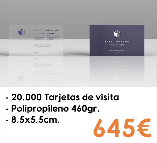 20.000 tarjetas de visita en polipropileno de 460gr.