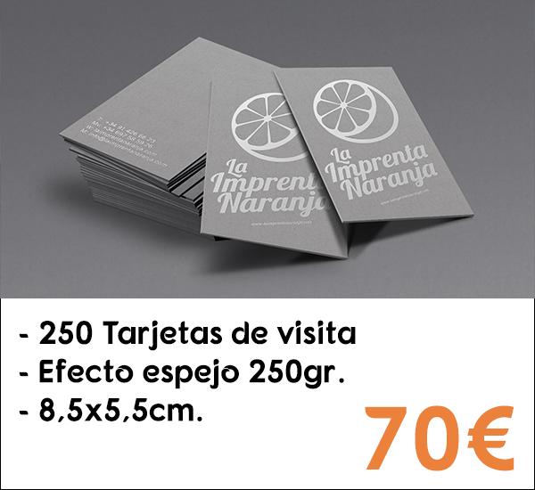 250 tarjetas de visita en papel de 250gr.