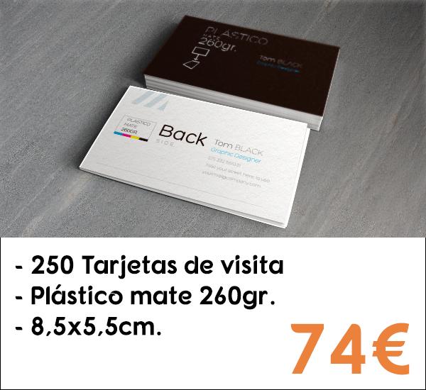 250 tarjetas de visita en plástico mate de 260gr.