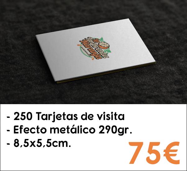 250 tarjetas de visita en cartón de 290gr. con efecto metálico