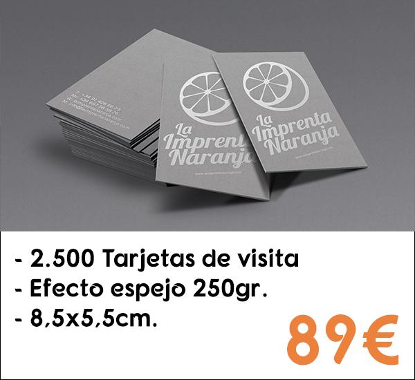 2.500 tarjetas de visita en papel de 250gr.
