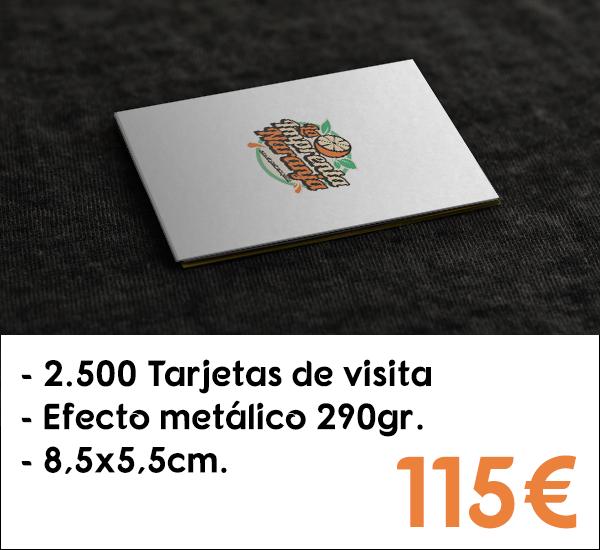 2.500 tarjetas de visita en cartón de 290gr. con efecto metálico