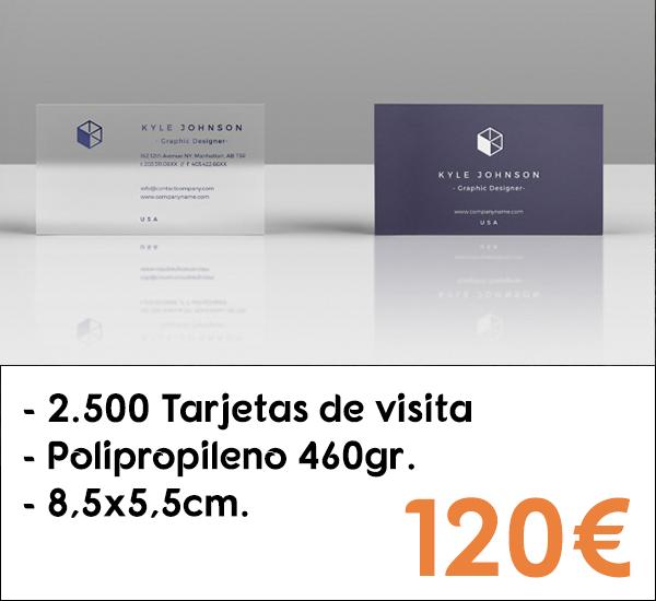 2.500 tarjetas de visita en polipropileno de 460gr.