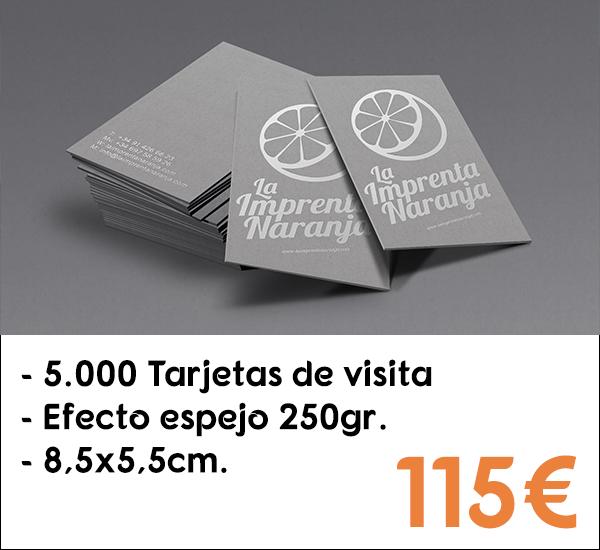 5.000 tarjetas de visita en papel de 250gr.