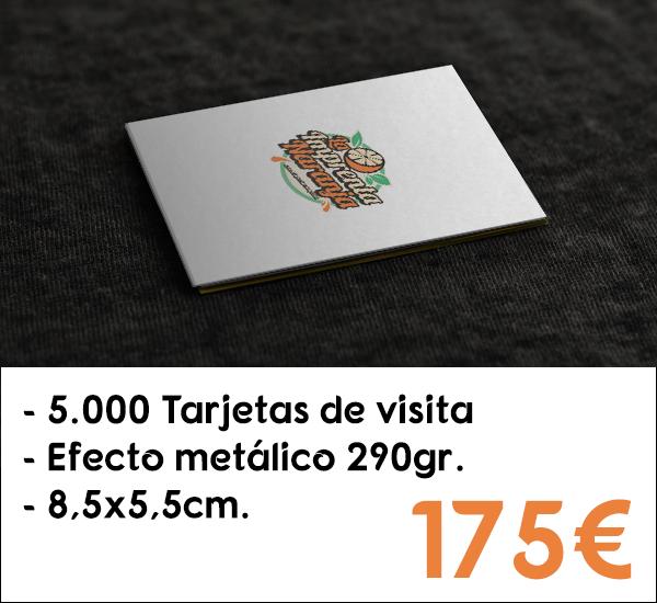5.000 tarjetas de visita en cartón de 290gr. con efecto metálico