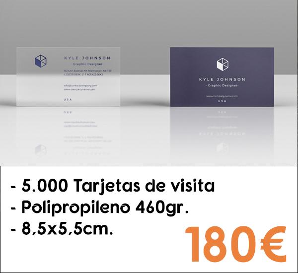 5.000 tarjetas de visita en polipropileno de 460gr.