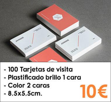 100 tarjetas de visita plastificado brillo 1 cara