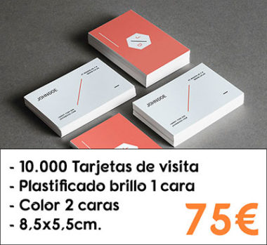 10.000 tarjetas de visita plastificado brillo 1 cara