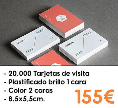 20.000 tarjetas de visita plastificado brillo 1 cara
