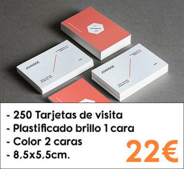 250 tarjetas de visita plastificado brillo 1 cara
