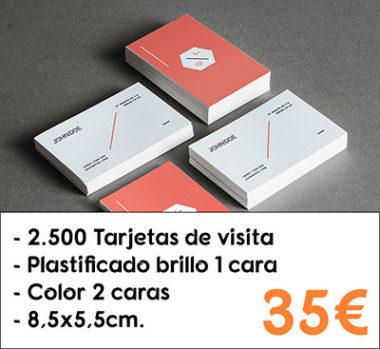 2.500 tarjetas de visita plastificado brillo 1 cara