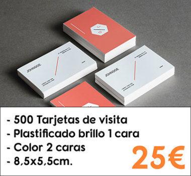 500 tarjetas de visita plastificado brillo 1 cara