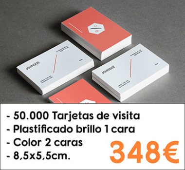 50.000 tarjetas de visita plastificado brillo 1 cara
