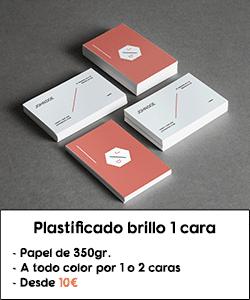 Tarjetas de visita plastificado brillo 1 cara