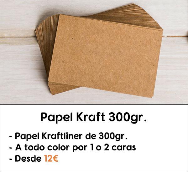 Tarjetas de visita y etiquetas de ropa en papel kraft de 300gr.