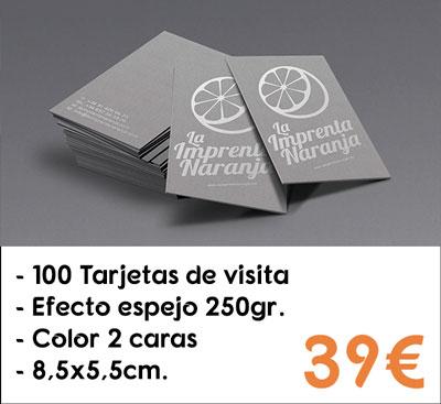 100 tarjetas de visita efecto espejo en papel Silverstar® de 250gr