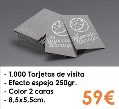 1000 tarjetas de visita efecto espejo en papel Silverstar® de 250gr