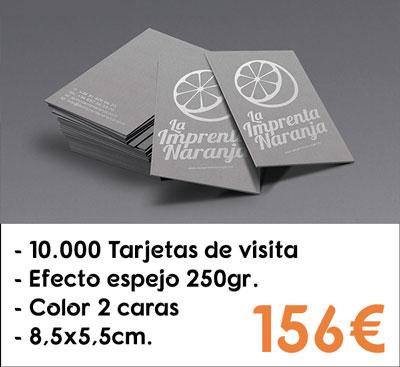 10000 tarjetas de visita efecto espejo en papel Silverstar® de 250gr