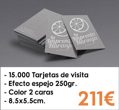 15000 tarjetas de visita efecto espejo en papel Silverstar® de 250gr