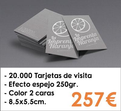 20000 tarjetas de visita efecto espejo en papel Silverstar® de 250gr