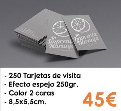 250 tarjetas de visita efecto espejo en papel Silverstar® de 250gr