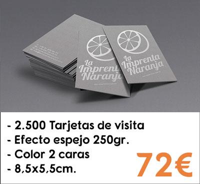 2500 tarjetas de visita efecto espejo en papel Silverstar® de 250gr