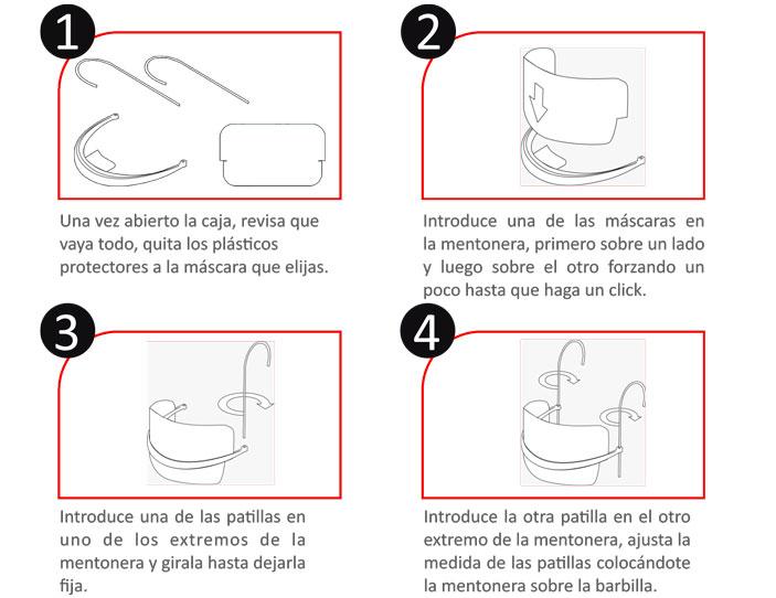 Instruccione de montaje de Mascarilla transparente reutilizable barata