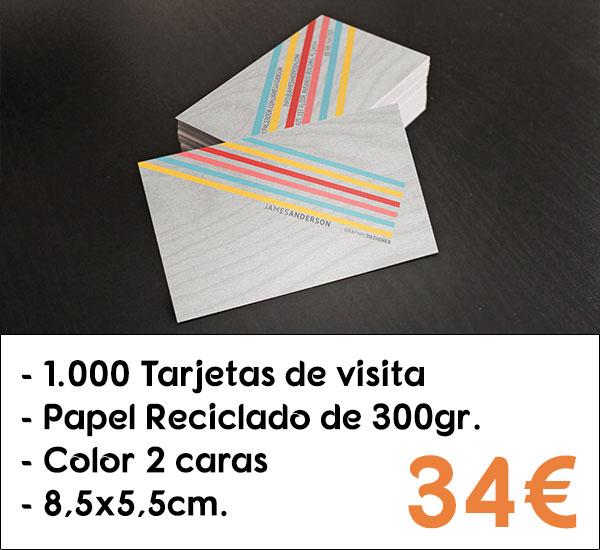 1000 tarjetas de visita en papel reciclado de 300gr.