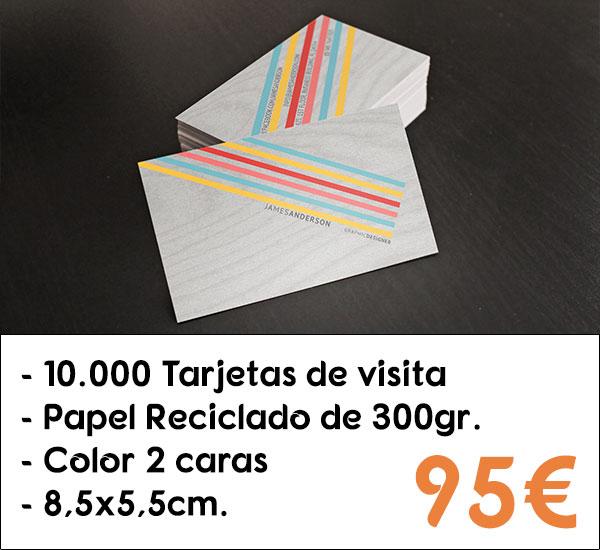 10000 tarjetas de visita en papel reciclado de 300gr.