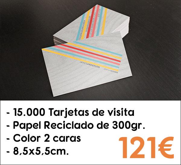15000 tarjetas de visita en papel reciclado de 300gr.