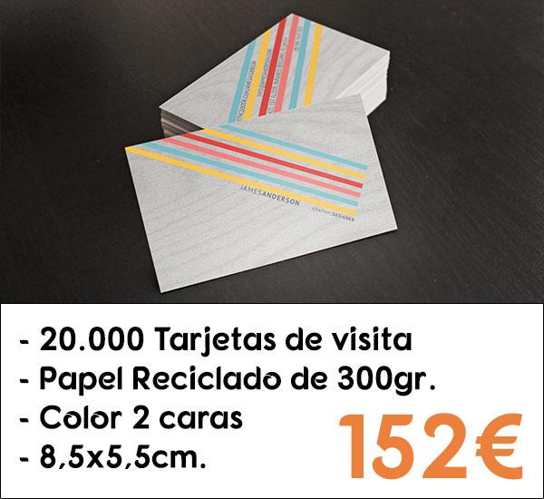 20000 tarjetas de visita en papel reciclado de 300gr.