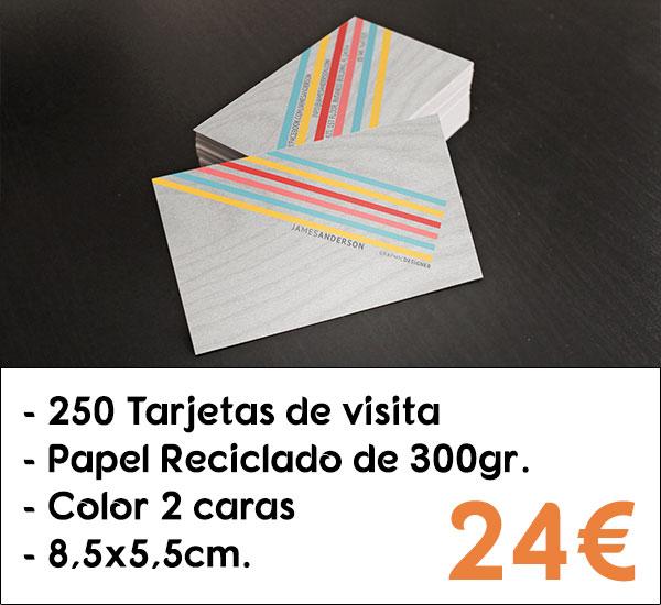 250 tarjetas de visita en papel reciclado de 300gr.