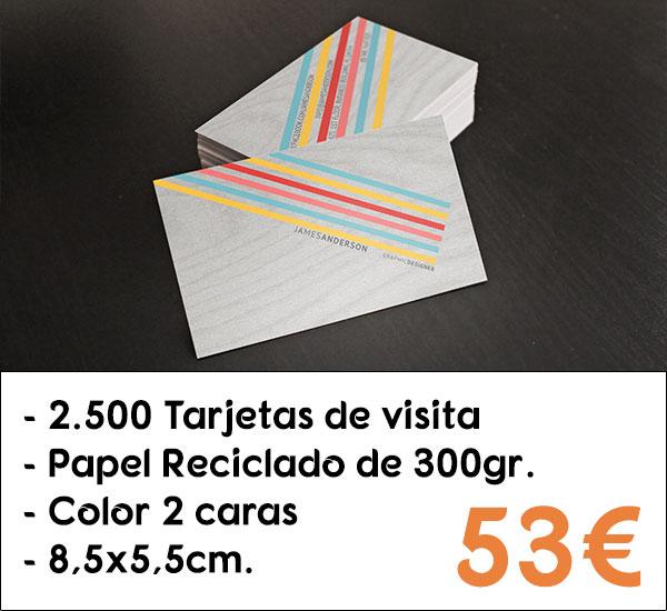2500 tarjetas de visita en papel reciclado de 300gr.