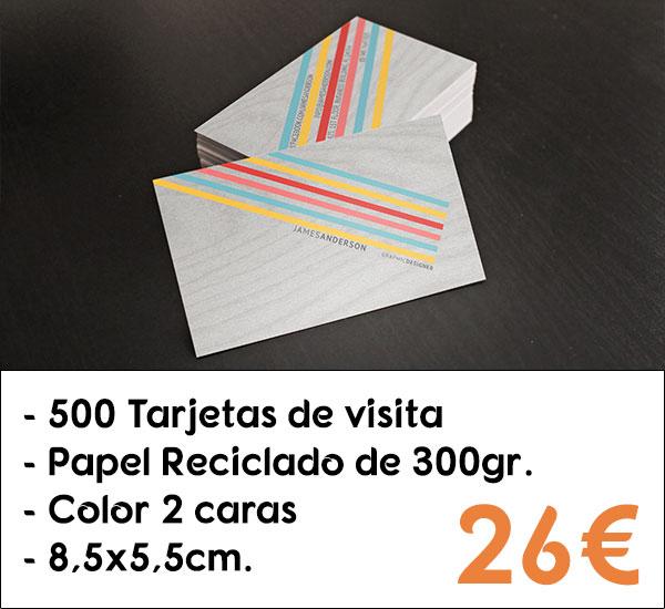 500 tarjetas de visita en papel reciclado de 300gr. de 8,5x5,5cm.