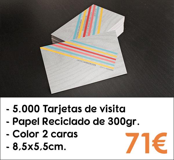 5000 tarjetas de visita en papel reciclado de 300gr.